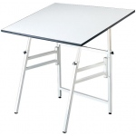 "Alvin® Professional Table White Base White Top 24"" x 36"": 0 - 45, White/Ivory, Steel, 29"" - 45"", White/Ivory, Melamine, 24"" x 36"""