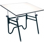 "Alvin® Opal Table Black Base White Top 31"" x 42"": 0 - 45, Black/Gray, Steel, 29"" - 44"", White/Ivory, Melamine, 31"" x 42"""