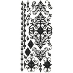 "Dazzles™ Stickers Black Flourish: Black/Gray, 4"" x 9"", Outline, (model HOTP2065), price per each"