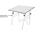 "Alvin® Opal Table White Base White Top 24"" x 36"": 0 - 45, White/Ivory, Steel, 29"" - 44"", White/Ivory, Melamine, 24"" x 36"""