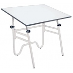 "Alvin® Opal Table White Base White Top 31"" x 42"": 0 - 45, White/Ivory, Steel, 29"" - 44"", White/Ivory, Melamine, 31"" x 42"""
