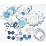Blue Hills Studio™ Irene's Garden™ Potpourri Paper Flower & Embellishment Pack Blues: Blue, Paper, 20 mm, 30 mm, 50 mm - 52 mm, Dimensional, (model BHS37), price per pack