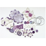 Blue Hills Studio™ Irene's Garden™ Potpourri Paper Flower & Embellishment Pack Purples: Purple, Paper, 20 mm, 30 mm, 50 mm - 52 mm, Dimensional, (model BHS34), price per pack