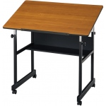 "Alvin® MiniMaster™ Table Black Base with Woodgrain Top: 0 - 30, Black/Gray, Steel, 27"" - 40"", Brown, 24"" x 36"""
