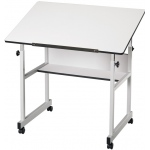 "Alvin® MiniMaster™ Table Gray Base with White Top: 0 - 30, Black/Gray, Steel, 27"" - 40"", White/Ivory, 24"" x 36"""