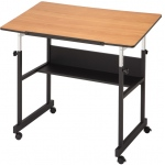 "Alvin® MiniMaster™ II Table Black Base with Woodgrain Top: 0 - 30, Black/Gray, Steel, 29"" - 41"", Brown, 24"" x 40"""