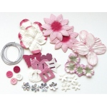 Blue Hills Studio™ Irene's Garden™ Potpourri Paper Flower & Embellishment Pack Pinks: Red/Pink, Paper, 20 mm, 30 mm, 50 mm - 52 mm, Dimensional, (model BHS33), price per pack
