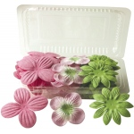 "Blue Hills Studio™ Irene's Garden™ Box O'Blooms Flower Pack Pink/Hot Pink/Lime: Multi, Paper, 2""+, Dimensional, (model BHS107510), price per pack"