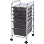 "Blue Hills Studio™ Storage Cart 6-Drawer (Standard and Deep) Smoke: Black/Gray, 13 3/4""l x 9 3/4""w x 5""h, 13 5/8""l x 9 5/8""w x 5/8""h, Plastic, 6-Drawer, 15""d x 11 1/4""w x 32""h, (model SC6SM), price per each"