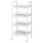 "Blue Hills Studio™ Storage Cart 4-Shelf White: White/Ivory, Plastic, 4-Shelf, 12""d x 14 1/2""w x 29 3/4""h, (model SH4WH), price per each"