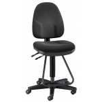 "Alvin® Black Executive Drafting Height Monarch Chair: Arm Rest Included, Black/Gray, Foot Ring Included, 24"" - 29"", 30"" & Up, Fabric, (model DC555-40), price per each"
