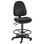 "Alvin® Black High Back Drafting Height Monarch Chair: No, Black/Gray, Foot Ring Included, 24"" - 29"", 30"" & Up, Fabric, (model CH555-40DH), price per each"