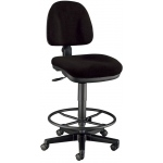 "Alvin® Black Premo Drafting Height Ergonomic Chair: No, Black/Gray, Foot Ring Included, 24"" - 29"", Fabric, (model CH444-40DH), price per each"