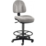 "Alvin® Medium Gray Premo Drafting Height Ergonomic Chair: No, Black/Gray, Foot Ring Included, 24"" - 29"", Fabric, (model CH444-60DH), price per each"