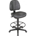 "Alvin® Black Leather Premo Drafting Height Ergonomic Chair: No, Black/Gray, Foot Ring Included, 24"" - 29"", Fabric, (model CH444-90DH), price per each"