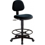 "Alvin® Black Comfort Economy Drafting Height Task Chair: No, Black/Gray, Foot Ring Included, 24"" - 29"", Fabric, (model CH277-40DH), price per each"