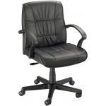 "Alvin® Art Director Executive Leather Chair Office Height: Arm Rest Included, Black/Gray, No, Under 24"", Leather, (model CH777-90), price per each"