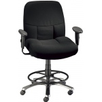 "Alvin® Olympian Drafting Height Comfort Chair: Arm Rest Included, Black/Gray, Foot Ring Included, 24"" - 29"", Fabric, (model CH300-40DH), price per each"
