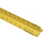"Alvin® 110 Series 12"" High Impact Plastic Mechanical Drafting Triangular Scale Yellow: Yellow, Plastic, 12"", Scale"