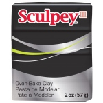 Sculpey® III Polymer Clay Black: Black/Gray, Bar, Polymer, 2 oz, (model S302042), price per each