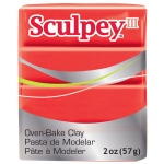 Sculpey® III Polymer Clay Red Hot Red: Red/Pink, Bar, Polymer, 2 oz, (model S302583), price per each