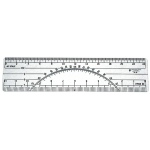 "Westcott® C-Thru® 6"" Protractor Ruler 10 and 50 Parts To The Inch: Clear, Plastic, 6"", Ruler, (model W37), price per each"
