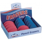 Alvin® Pink Oval and Blue Triangular Pencil Erasers 15/Box: Plastic, 15-Box, Manual, (model 1070AE), price per 15-Box box
