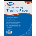 "Alvin® Alva-Line 100 % Rag Tracing Paper 50-Sheet Pad 8 1/2 x 11: Pad, 50 Sheets, 8 1/2"" x 11"", Tracing, 16 lb, (model 6855/P-1), price per 50 Sheets pad"