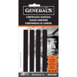 General's® Compressed Charcoal Sticks: Black/Gray, Soft, Stick, Compressed, (model 957ABP), price per pack