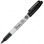 Sharpie® Fine Point Black Permanent Marker: Black/Gray, Fine Nib, (model SN30001), price per each