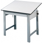 "Alvin® DesignMaster Table Gray Base White Top 37.5"" x 60"": 0 - 45, Black/Gray, Steel, 37"", White/Ivory, Melamine, 37 1/2"" x 60"", (model DM60ND), price per each"