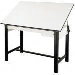 "Alvin® DesignMaster Table Black Base White Top 2 Drawers 37.5"" x 60"": 0 - 45, Black/Gray, Steel, 37"", White/Ivory, Melamine, 37 1/2"" x 60"""