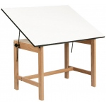 "Alvin® Titan Solid Oak Office Table Natural Finish 36"" x 48"" x 30"": 0 - 45, Brown, Oak, 30"", White/Ivory, Melamine, 36"" x 48"""