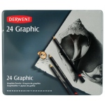 Derwent Graphic 24-Pencil Complete Tin Set: Black/Gray, Drawing, (model 34202), price per set