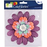 "Blue Hills Studio™ ColorStories™ Handmade Paper Stacked Flowers Purple: Purple, Paper, 6"", Dimensional, (model BHS10509), price per each"